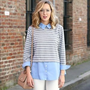 Striped layered top with collard top🤍